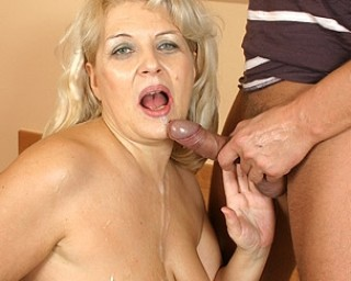 Horny housewife gets a mouth filled with cum